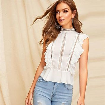 SHEIN Boho White Ruffle Lace Buttoned Back Peplum Top Cap Sleeve Solid Lace Blouse Women Mock-neck 2019 Summer Workwear Blouses