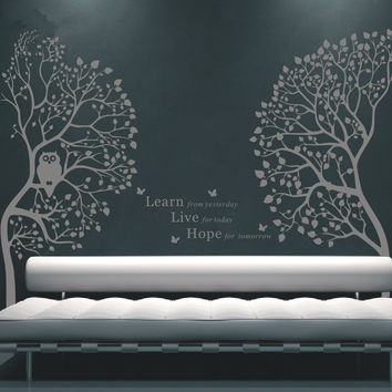 Owl Night Tree Wall Decals