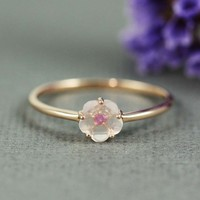 Pink Gold Rose Quartz Ruby Flower Ring