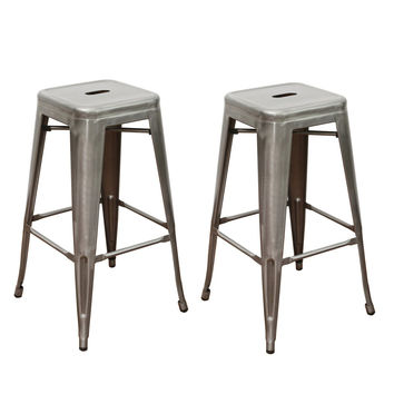 Bronze 30 inch Metal Tolix Style Industrial Chic Chair Counter Stool Barstool Set of Two