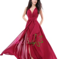 New Burgundy Sexy Long Formal Prom Dresses Party Bridesmaid Evening Ball Gowns