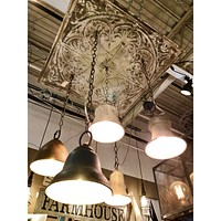 Five Pendant Light Ceiling Fixture with Vintage Pressed Tin Square | 28-in