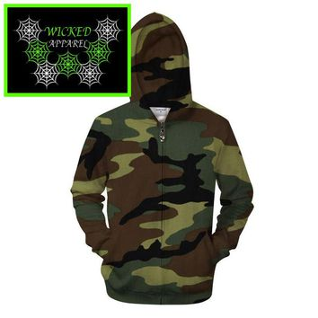 Wicked Apparel Army Green Camo Hoodie #48
