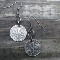Coin earrings. Usa dime earrings. Dime jewelry. Coin jewelry.