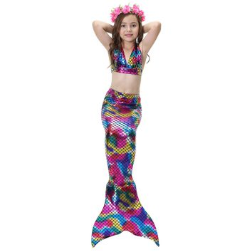 New 3 Pcs/sets  Lovely Children Baby Girls Cosplay  Mermaid Tail  Swimsuit Costume Mermaid  Swimwear No Monofin