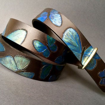 Hand tooled women's leather belt with iridescent blue butterflies - Catch your rainbow!