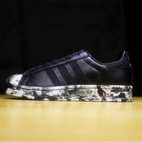 """Adidas"" Fashion Shell-toe Flats Sneakers Sport Shell-toe Shoes Black"