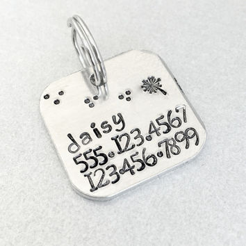 Hand stamped dog ID tag / The Daisy / square aluminum tag / personalized dog tag / dog tags for dogs