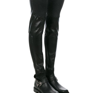 FENDI Wave Stretch Leather Over-The-Knee Boots