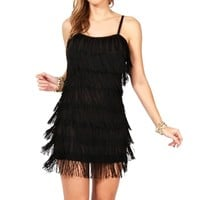 Pre-Order Black Fringe Flapper Cocktail Dress