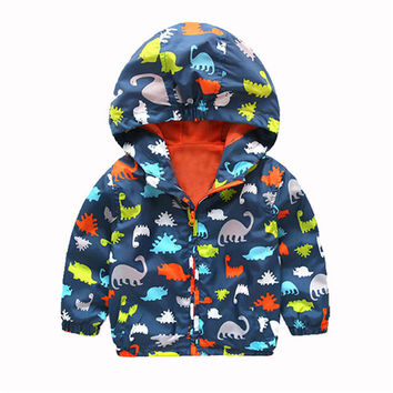 HOT High Quality 2016 Baby Boy Spring Jackets Brand Dinosaur Hooded Softshell Jacket For Boys Kids Coat Outerwear 2-6 Years