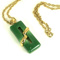 Vintage Faux Jade Necklace by Crown Trifari Geometric Gold Tone and Green
