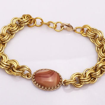 Terra Cotta Wonder Stone Cabochon and Gold Chainmaille Bracelet -- Product B009