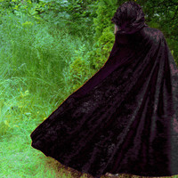 Black velvet hooded cape gothic Vampire Cosplay Costume Fantasy from PoppysWickedGarden