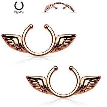 Angel Wings Non-Pierce No Pierce Fake Clip On Nipple Ring - Sold as a Pair - Choose Gold Tone, Silver Tone, or Rose Gold Tone (Rose Gold Tone Pair)