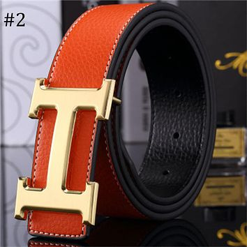 Hermes trend versatile simple H buckle casual men and women smooth buckle belt #2