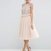 Lace & Beads Tulle Skirt with Gathered Waist Detail at asos.com