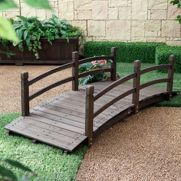 6FT Wooden Garden Bridge in Dark Brown Fir Wood with Rails