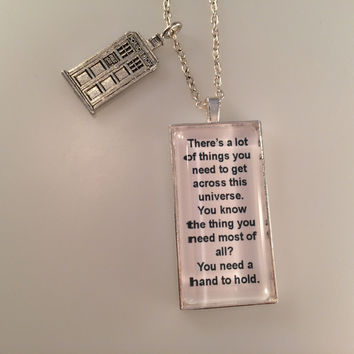 Exclusive Doctor Who TARDIS Charmed Interpreted Quote Necklace, TARDIS Jewelry, Hand to Hold Pendant