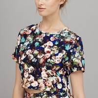 Electric Blue Dark Floral Crop Top | Crop Tops
