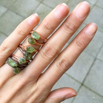Raw Peridot Ring | Raw Crystal Ring | Peridot Jewelry | August Birthstone Ring | Raw Stone Ring