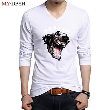 2018 New Funny Ferocious French Bulldog Printed Men Cotton Long Sleeve T-Shirts Summer Hipster Brand Animal Graphics Tee Shirts