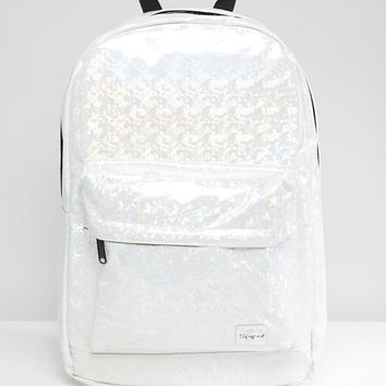 Spiral Backpack in White Iridescent at asos.com