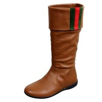 ONETOW Gucci Unisex Kids Signature Web Detail Brown Leather Boots 285230 (12 US)