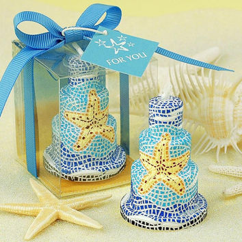 Wedding Favor Handmade Smokeless Blue Starfish Cake Art Candle For Wedding Birthday Party Small Candles