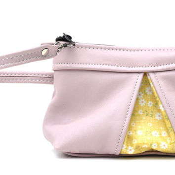 Pink Leather Wristlet with Vintage yellow accents, genuine full grain leather clutch, pink and yellow clutch, womens leather wallet