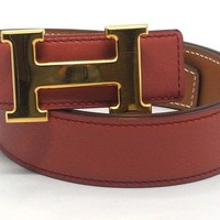Authentic HERMES Rosy Swift x Natural Box Calf Leather Constance H Belt Size 80