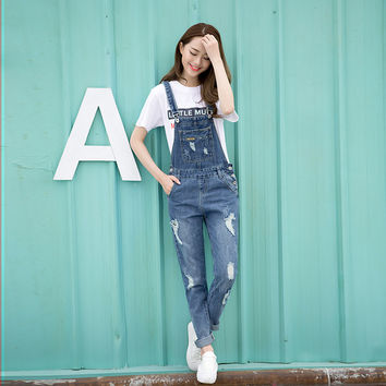 Spring Fashion Ripped Jeans Jumpsuits Ladies Girls long  Pants Casual Women Rompers bib overalls Suspenders