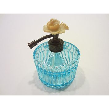 Blue Atomizer Perfume Bottle Stripe Glass Blooming Flower Top By I W Rice Co Japan