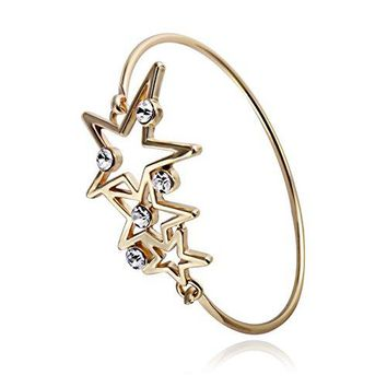RUXIANG Star Cubic Zirconia Bangle Birthstone Charms Cuff Bracelets Jewelry for Women Girls