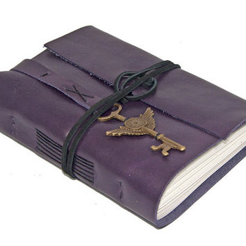 Purple Leather Journal with Winged Clock Key Bookmark