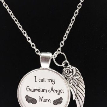 Guardian Angel Mom Mother In Heaven Wing Call My Angel Mom Quote Memory Necklace