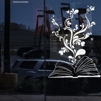 Window Sign and Wall Decal Book Bookworm Library Bookstore School Stickers Unique Gift (ig2945w)