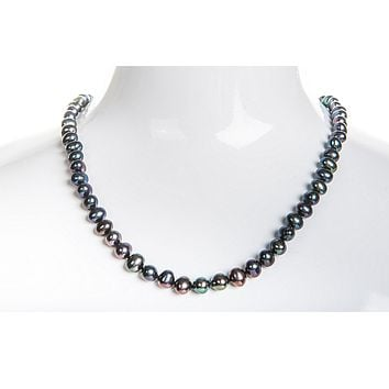 Single Strand Peacock Blue Freshwater Pearl Necklace 6mm