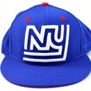 Mitchell & Ness New York Giants XL Logo Blue/White Fitted Hat 7 3/8