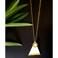 Minimal Triangle, faux golden ring geometric necklace
