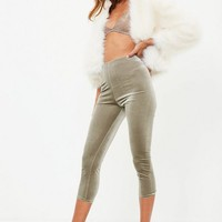 Missguided - Silver Velvet Leggings