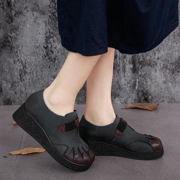 2016 NEW Handmade Retro Genuine Leather Women Casual Shoes Wedges Elastic Band Ladies