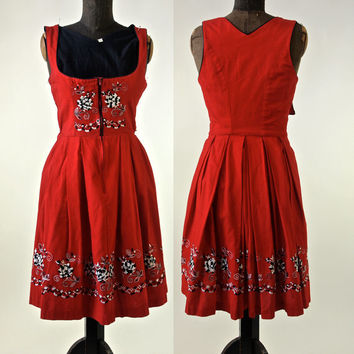 Vintage Red Cotton Embroidered German Dirndl Dress  size 34 EU Small 1970's Queen of Hearts