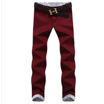 Thick autumn winter casual pants men brand clothing high quality cotton 2017 New fashion male business trousers 28-40