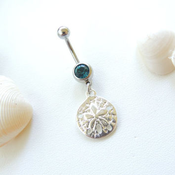 Sand Dollar Belly Button Ring, Nautical / Beach Belly Button Ring, Belly Button Jewelry, Body Jewelry, 14g Curved Barbell. 29