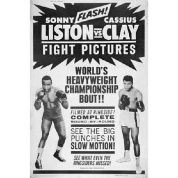 Cassius Clay Sonny Liston Fight poster Metal Sign Wall Art 8in x 12in Black and White