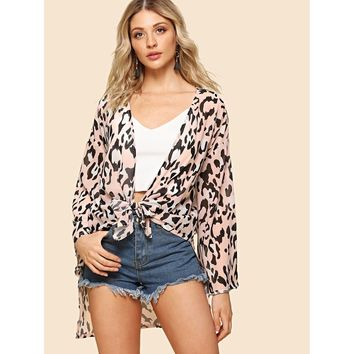 Multicolor Drop Shoulder Knot Front Printed Kimono