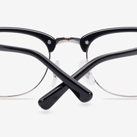 Sweet Jane | Black/Silver Acetate Eyeglasses | EyeBuyDirect