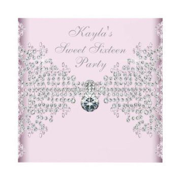 Silver Diamonds Pink Sweet 16 Birthday Party Custom Invitations from Zazzle.com