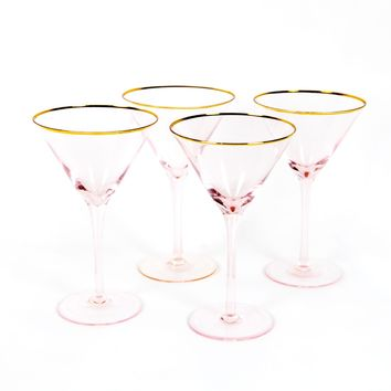 Anything Goes Pink Martini Glasses - Set of 4